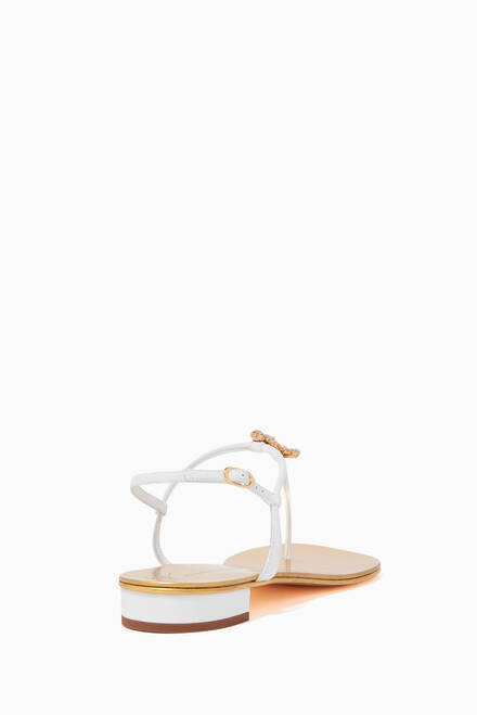 hover state of Crystal Anchor Leather Sandals