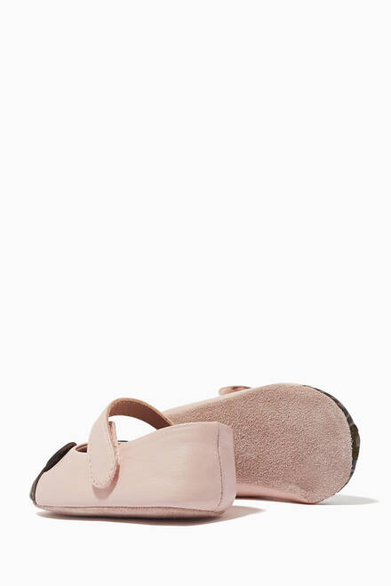 hover state of Teddy Bear Leather Ballerina Shoes