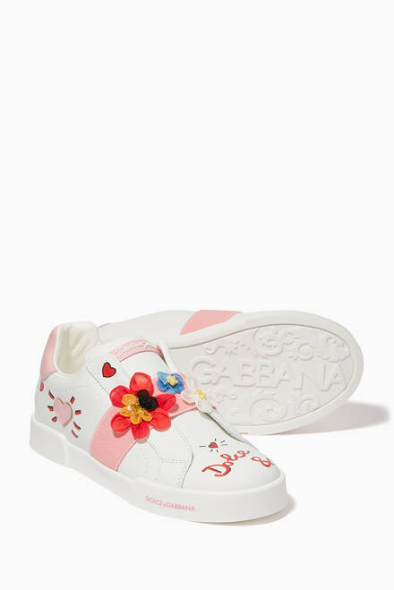 hover state of Blooming Portofino Leather Sneakers
