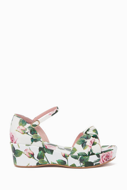 hover state of Tropical Rose Poplin Wedge Sandals