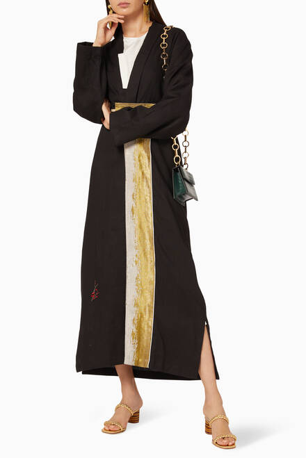 hover state of Paneled Linen-Blend Abaya