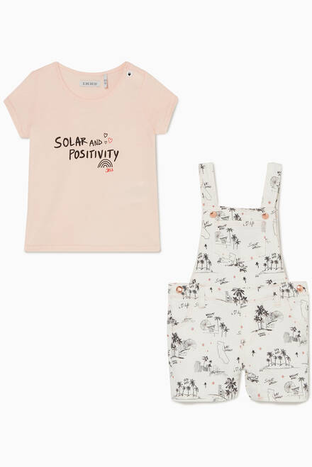 hover state of Cotton T-Shirt & Dungarees Set