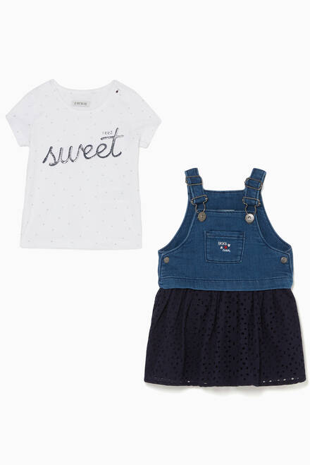 hover state of Printed T-Shirt & Dungaree Dress Set