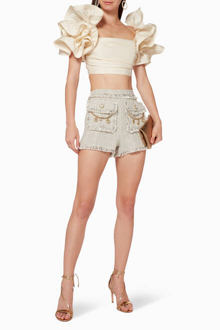 hover state of Chain Appliqué Tweed Shorts