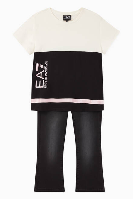 hover state of EA7 Macro Colour Block Jersey T-Shirt