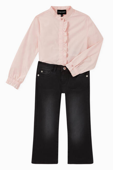 hover state of Ruffle Stretch Poplin Shirt