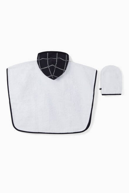 hover state of Logo Tape Cotton Bathrobe & Wash Mitt Set