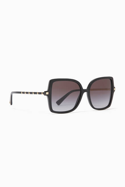 hover state of Valentino Garavani Studded Square Sunglasses in Acetate
