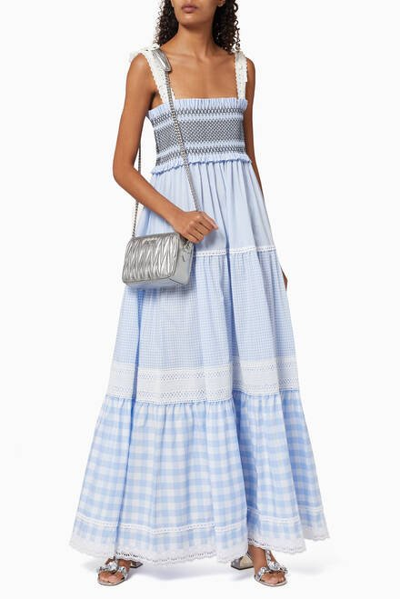 hover state of Gingham Cotton Poplin Dress