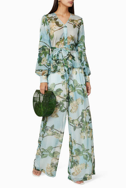 hover state of Floral Chiffon Wide-Leg Pants