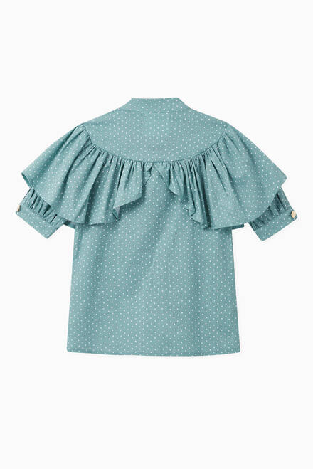 hover state of Frill Polka Dot Linen Shirt