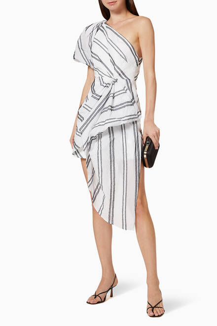 hover state of Strand Monochrome Stripe Cotton Blend Dress