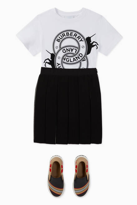 hover state of Icon Stripe Wool Blend Pleated Skirt