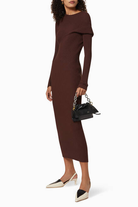 hover state of Fold Ribbed Knit Dress