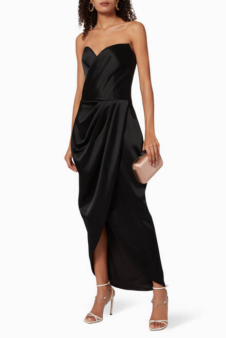hover state of Draped Satin Corset Midi Dress