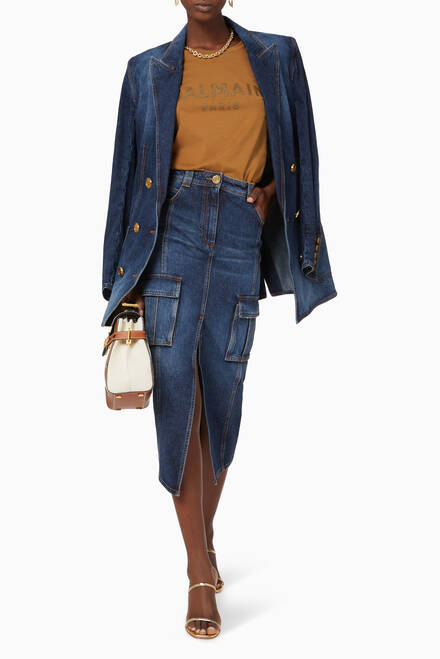 hover state of High-Waisted Denim Skirt