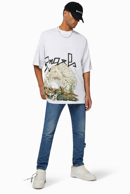 hover state of Desert Skull Oversized Cotton T-Shirt
