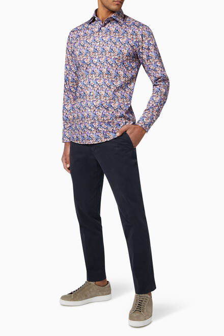 hover state of Floral Cotton Twill Slim Fit Shirt
