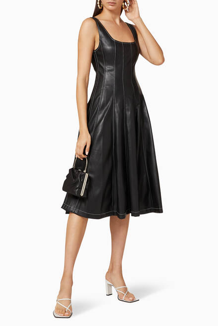hover state of Wells Vegan Leather Midi Dress