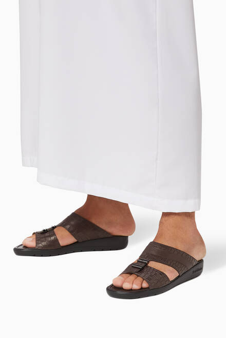 hover state of Arabic Sandals in Croc-Embossed Leather