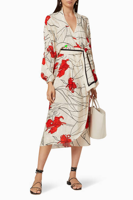 hover state of Romantic Message Jacquard Wrap Dress