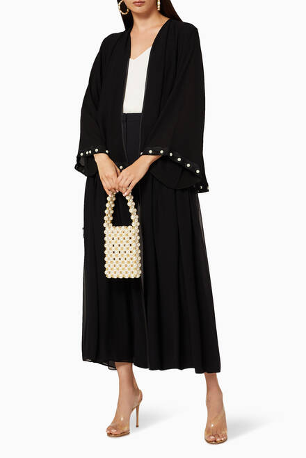 hover state of Embroidered Layered Abaya
