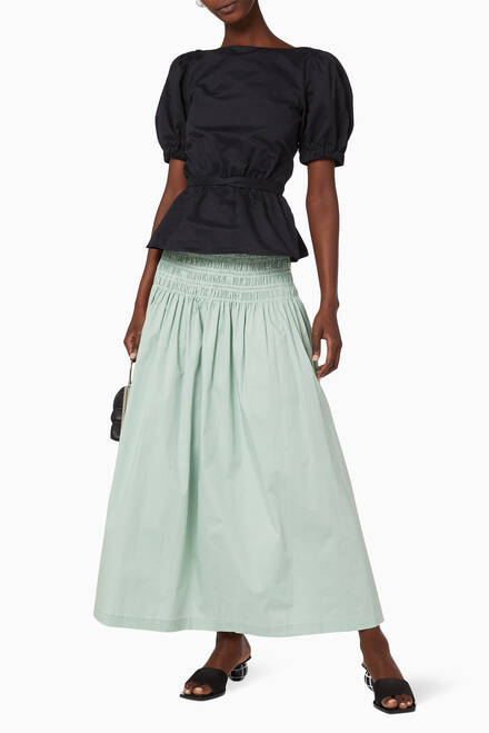 hover state of Sunday Smocked Poplin Maxi Skirt