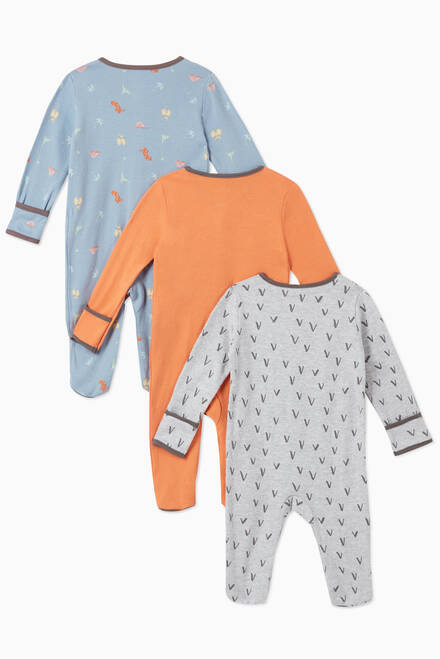 hover state of Dino Cotton Sleepsuit, Set of 3