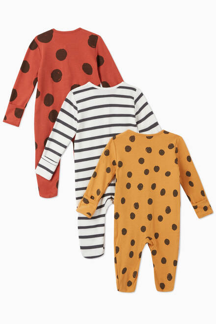 hover state of Large Spot Cotton Sleepsuit, Set of 3