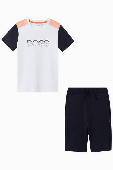hover state of Logo T-shirt & Track Shorts in Cotton Blend