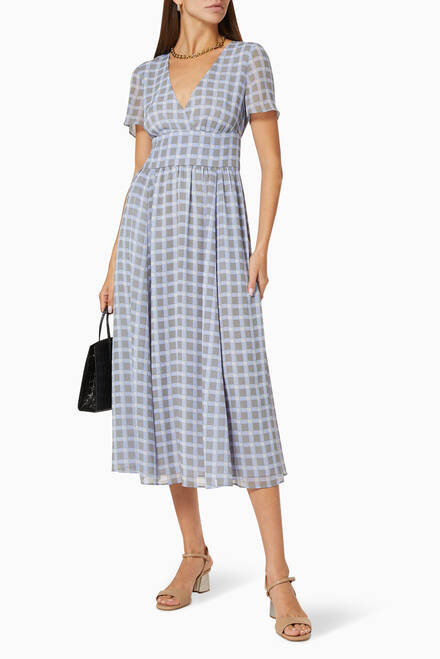 hover state of Check Chiffon A-Line Dress