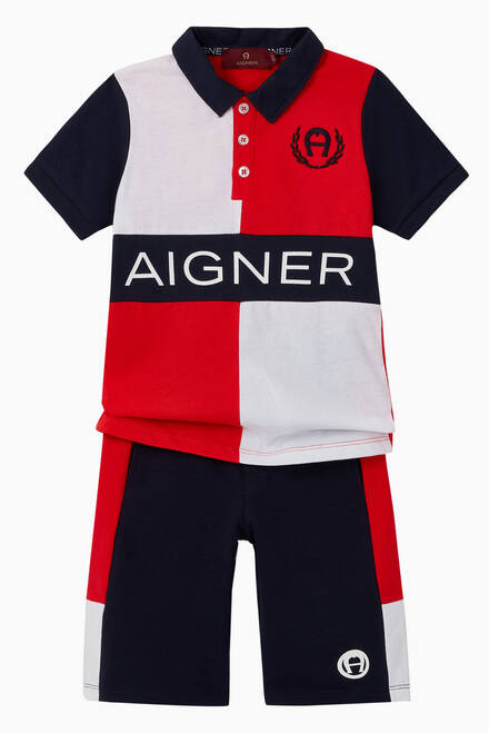 hover state of Logo Colour-Block Cotton Polo Shirt
