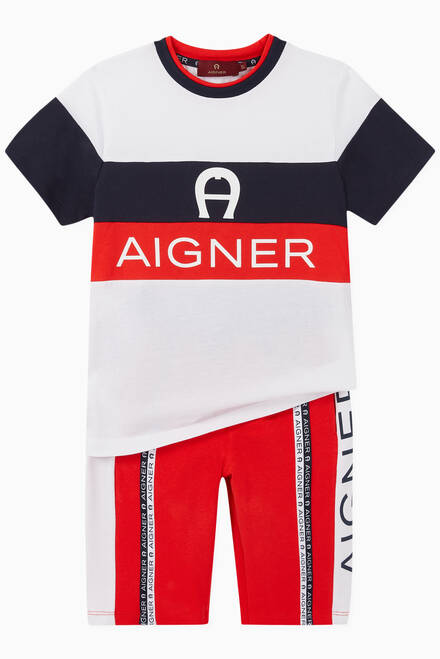 hover state of Logo Stripe Cotton Jersey Shorts