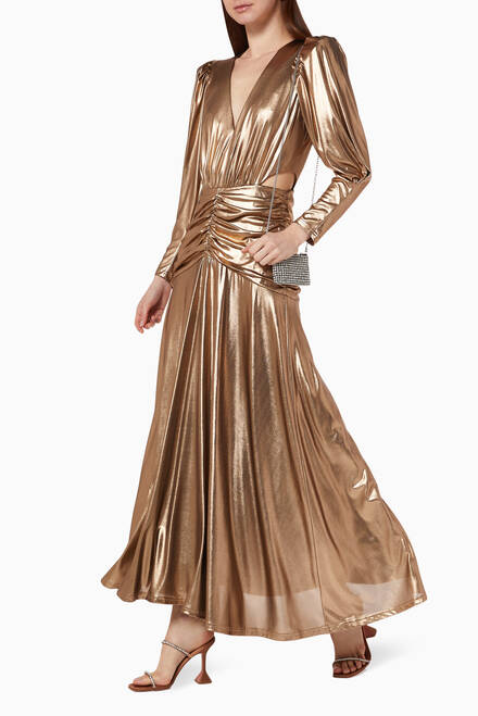 hover state of Reagan Metallic Ruched Dress
