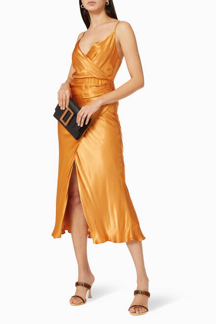 hover state of Gala Draped Midi Dress