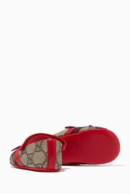 hover state of GG Bow Ballet Flats in Canvas