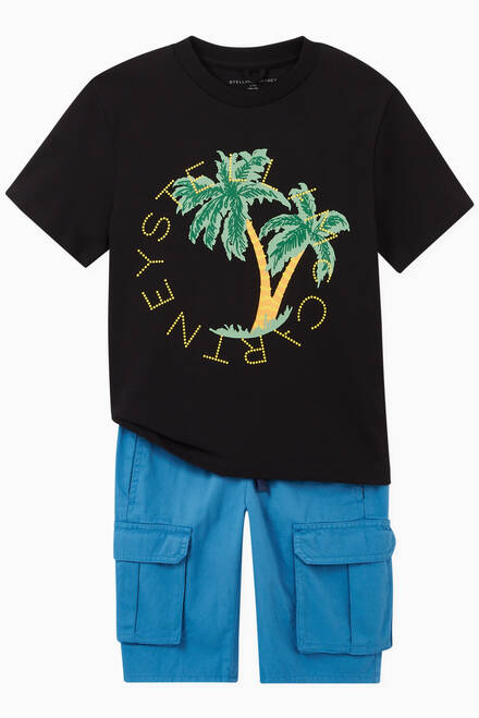 hover state of Logo Palms Oversize T-shirt in Organic Cotton