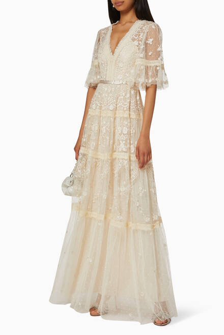 hover state of Lottie Embroidered Lace Gown