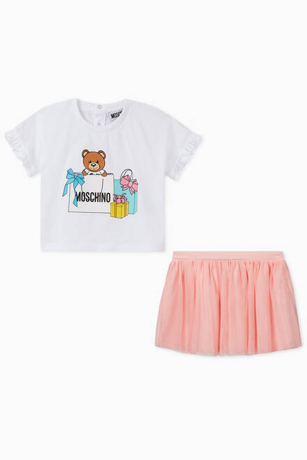 hover state of Shopping Teddy Bear T-Shirt And Skirt Set