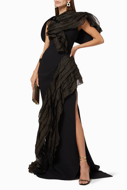 hover state of Serene Ruffled Crepe and Organza Evening Gown