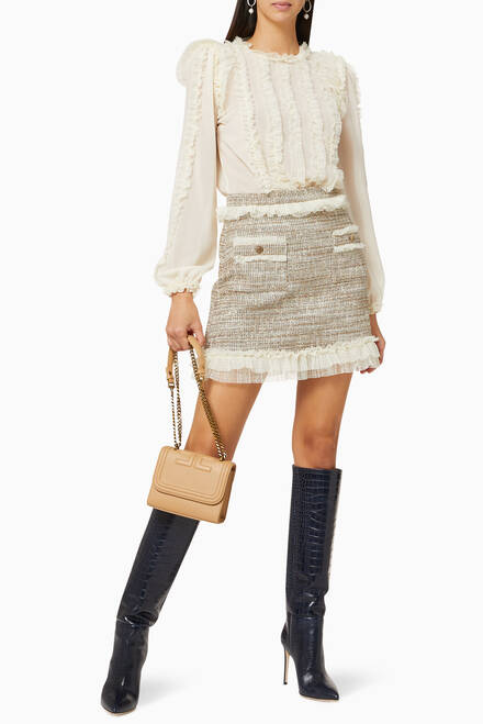 hover state of Frilled Georgette & Tweed Dress