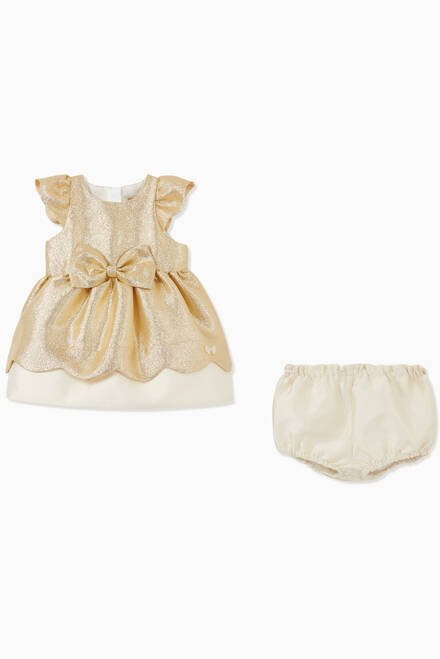 hover state of Scalloped Metallic Cotton Crêpe Dress with Bloomers