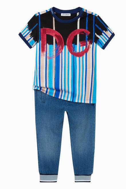 hover state of DG T-shirt in Brushstroke-print Cotton Jersey