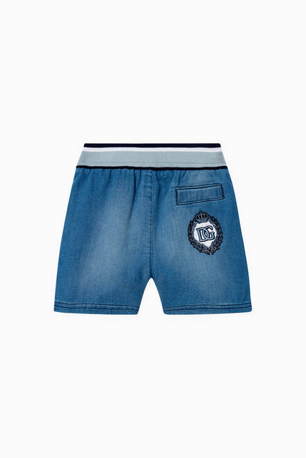 hover state of Denim Jersey Jogging Shorts in Cotton