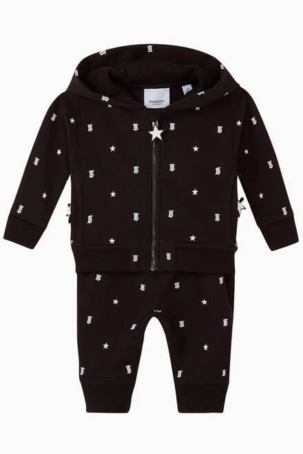 hover state of Star & Monogram Motif Cotton Hooded Top