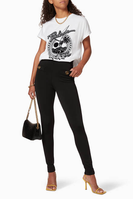 hover state of Logo Button Cotton Leggings