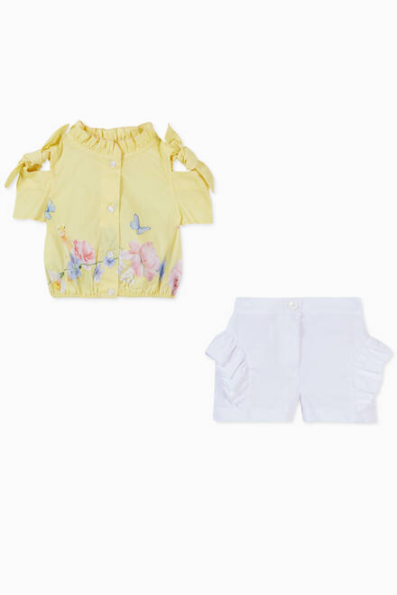 hover state of Floral Print Shirt & Ruffled Shorts in Cotton