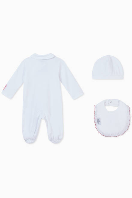 hover state of Nautical Print Pyjamas, Bib & Hat in Cotton