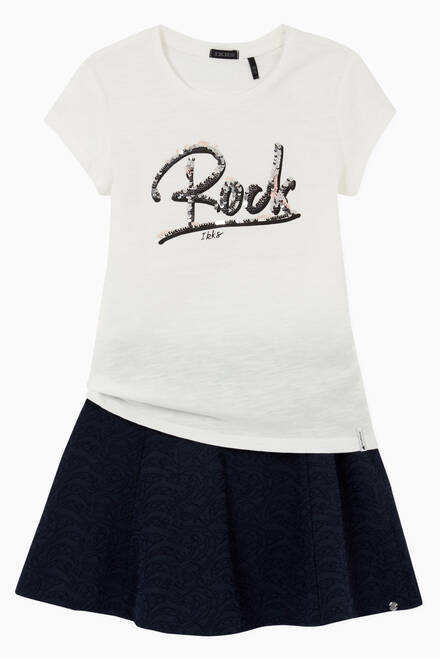 hover state of Reversible Sequins Slogan T-shirt in Cotton