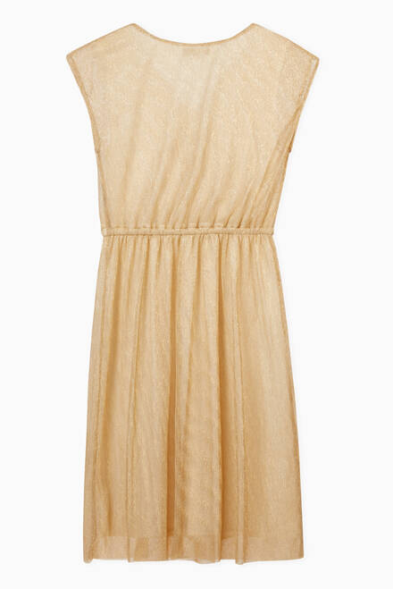 hover state of Iridescent Champagne Wrapover Dress